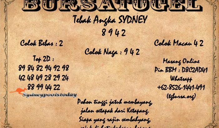 Syair Togel Sydney 08 April